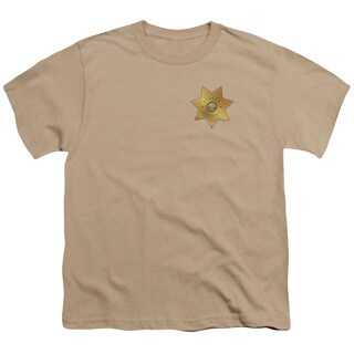 Eureka/Badge Short Sleeve Youth 18/1 in Sand