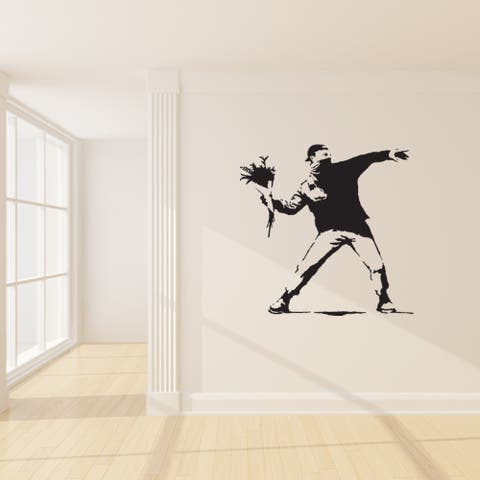 Banksy 'Protest With Flowers' Vinyl Sticker Art Wall Decal