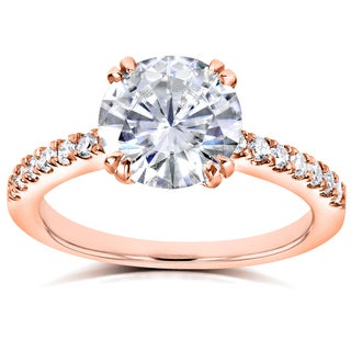 Annello 14k Rose Gold Round Forever Brilliant Moissanite and 1/5ct TDW Diamond Engagement Ring (G-H, I1-I2)