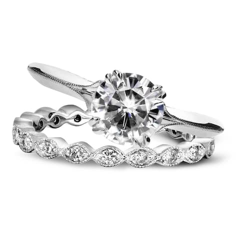Annello by Kobelli 14k White Gold 1 2/5ct TGW Forever One Moissanite (DEF) and Diamond Blooming Flower 2-Piece Bridal Set