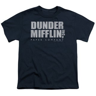 The Office/Dunder Mifflin Distressed Short Sleeve Youth 18/1 Navy