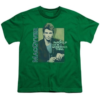 Macgyver/Wonderous Paperclip Short Sleeve Youth 18/1 in Kelly Green