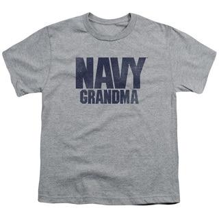 Navy/Grandma Short Sleeve Youth 18/1 in Athletic Heather