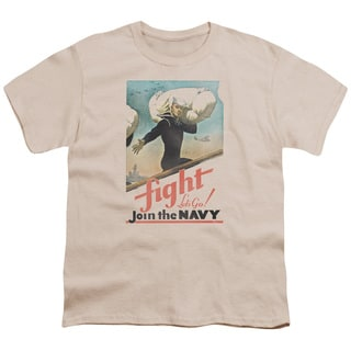 Navy/Fight Let's Go Short Sleeve Youth 18/1 in Cream