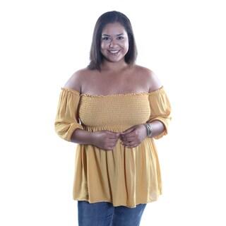 Hadari Women's Plus Size Sexy Ajustable Straight Off The Shouldes Neckline 1/2 Sleeve Blouse