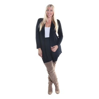 Hadari Women's Plus Size Open Front Long Sleeve Black Cardigan