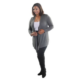 Hadari Women's Plus Size 3/4 Sleeve Open Front Cardigan