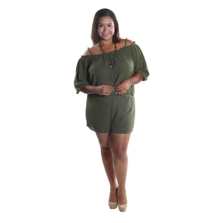Hadari Women's Plus Size Off the Shoulder Sphagetti Strapped 1/2 Sleeve Sheer Short Romper with Elastic Waistline