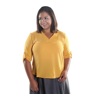 Hadari Women's Plus Size V-Neck 3/4 Zinched Button Sleeve Sheer Blouse