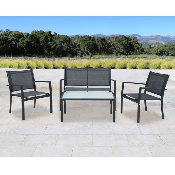 Corvus Antonio Black Sling Fabric Outdoor 4 Piece Patio Chat Set Part 83