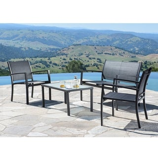 Corvus Antonio 4-piece Black Steel Textilene Fabric Outdoor Furniture Set with Glass Tabletop