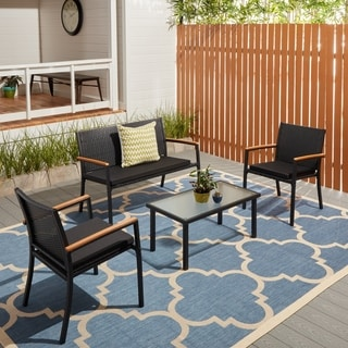 Corvus Lecco 4-piece Black Steel Resin Wicker Outdoor Seating Set with Glass Tabletop