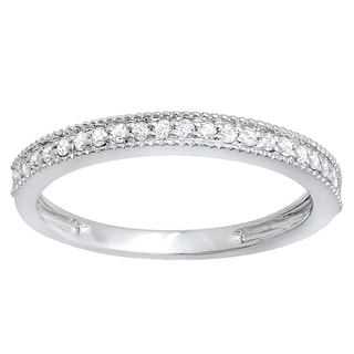 Elora 10k White Gold 1/4ct TDW Round Diamond Anniversary Wedding Band Stackable Ring (I-J, I2-I3)