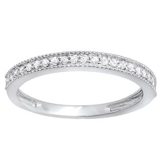 10k White Gold 1/4ct TDW Round Diamond Anniversary Wedding Band Stackable Ring (I-J, I2-I3)