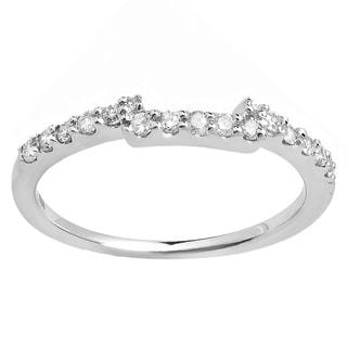 Elora 14k White Gold 1/4ct TDW Round Diamond Anniversary Wedding Matching Stackable Band Guard Ring (H-I,