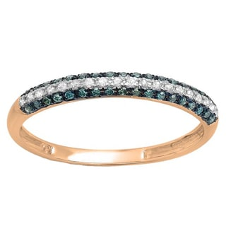 10k Gold 1/4ct TDW Round Blue and White Diamond Pave Set Anniversary Wedding Band Stackable Ring (I-J, I2-I3)