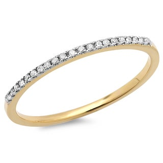 Elora 18k Gold 1/10ct TDW Round-cut White Diamond Dainty Anniversary Wedding Band Stackable Ring (I-J, I2-