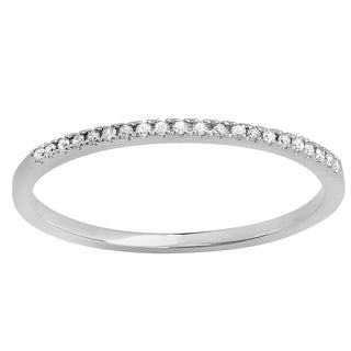 18k Gold 1/10ct TDW Round-cut White Diamond Dainty Anniversary Wedding Band Stackable Ring (I-J, I2-I3)