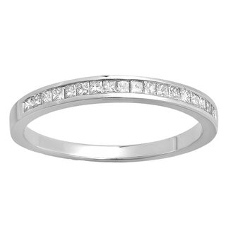 Elora 10k White Gold 1/4ct TDW Princess-cut White Diamond Anniversary Wedding Band Stackable Ring (H-I, I1