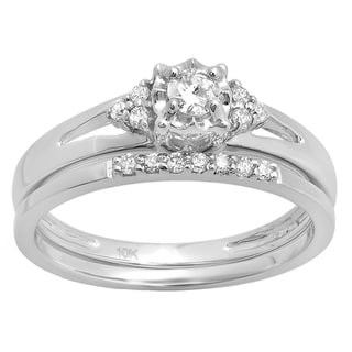 10k Gold 1/3ct TDW Round Diamond Split Shank Bridal Engagement Ring Set with Matching Band (H-I, I1-I2)