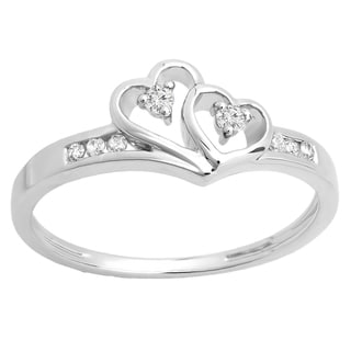 10k White Gold 1/8ct TDW Round Diamond Bridal Promise Double Heart Engagement Ring (I-J, I2-I3)