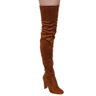 Beston FE62 Women's Faux Suede Drawstring Stretchy Thigh-high Dress Boots
