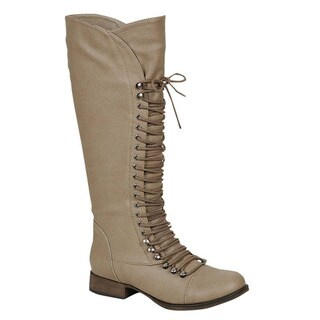 Breckelle's Women's Solid-colored Faux-leather Knee-high Lace-up Military Combat Boots