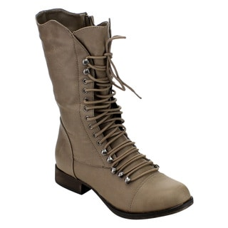 Breckelle's Women's Tan/Black/Beige Faux Leather Military-style Lace-up Chunky Mid-calf Boots