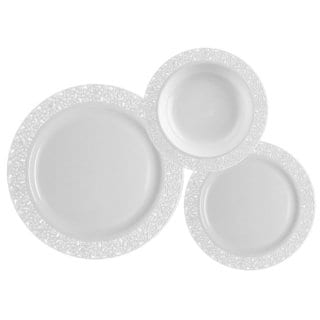 Table To Go Ivory Plastic Lace Design 225-piece Set, 75 10.75-inch Dinner Plates, 75 7.5-inch Salad Plates, 75 18-ounce Bowls