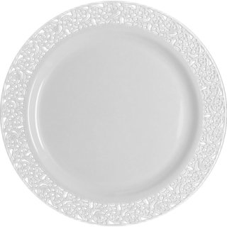 Table To Go 'I Can't Believe Its Plastic' Ivory 7.5-inch Lace-design Plate (Case of 200 Pieces)