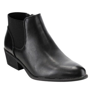 Bamboo Women's Chelsea Faux-leather/Fabric Chunky Heel Ankle Bootie