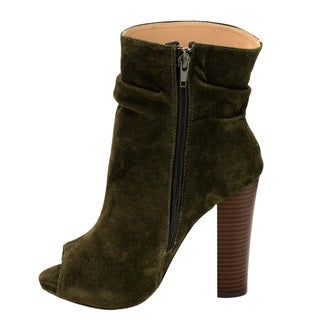 Chase & Chloe Women's Solid-colored Faux-suede High-heel Ankle Booties