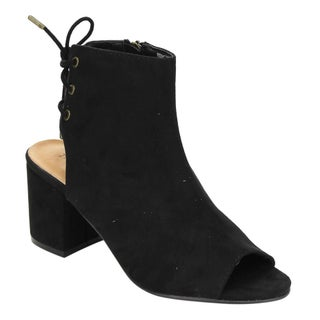 Bamboo ED38 Women's Faux Suede Back Lace-up Block-heel Ankle Booties (3 options available)