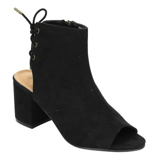 Bamboo ED38 Women's Faux Suede Back Lace-up Block-heel Ankle Booties