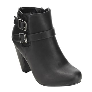 Top Moda EC70 Women's Faux Leather Adjustable Buckle Strap Zip Block Heel Ankle Booties