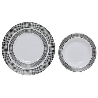 Table To Go Silver Florence White Plastic 225-piece Set for 75 With 18-ounce Bowls, 10-inch Dinner, and 7.5-inch Salad Plates