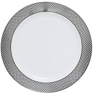 Table To Go I Can't Believe It's Plastic Florence Design White and Silver Plastic 10-inch Dinner Plates, 200 Pieces