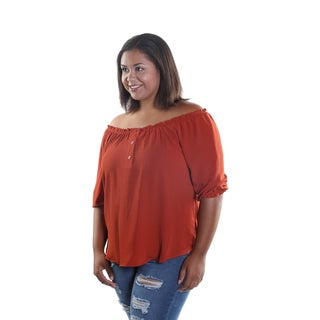 Hadari Women's Plus Size Round Adjustable Off The Shoulders Blouse