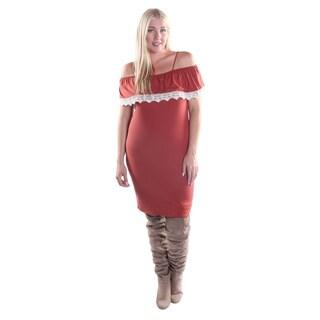 Hadari Women's Plus Size Off the Shoulder Sphagetti strapped Bodycon Dress