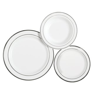 Table To Go New Lines White Plastic 10-inch Dinner Plate/7.5-inch Salad Plate/18-ounce Bowl Set (225-piece)