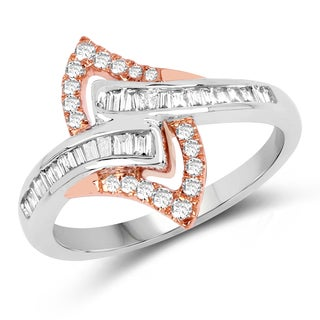 Olivia Leone 14k White and Rose Gold 2/5ct TDW Diamond Ring (G-H, SI1-SI2)