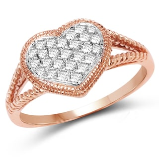 Olivia Leone 14k Rose Gold 1/3ct TDW Diamond Ring