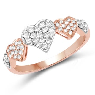 Olivia Leone 14k White and Rose Gold 1/4ct TDW Diamond Ring (G-H, SI1-SI2)