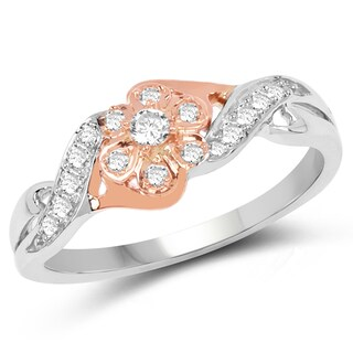 Olivia Leone 14k White and Rose Gold 1/5ct TDW Diamond Ring (G-H, SI1-SI2)