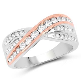 Olivia Leone 14k White and Rose Gold 7/8ct TDW Diamond Ring (G-H, SI1-SI2)