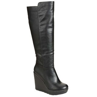 Breckelle ED44 Women's Faux Leather Knee-high Wedge-heel Boots