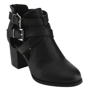 Top Moda Women's Solid-colored Faux-leather Buckle-strap Stacked Ankle Booties