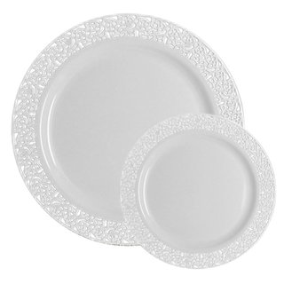 Table To Go Ivory Lace Design 50-piece Plasticware Set With 25 10.25-inch Dinner and 25 7.5-inch Salad Plates