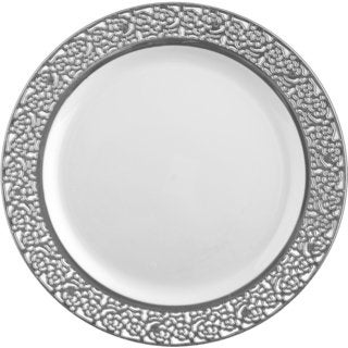 Table To Go 'I Can't Believe Its Plastic' Silver/Ivory Plastic Plates (50-piece Set)