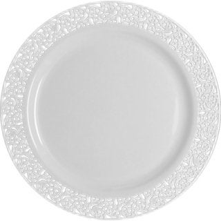 Table To Go I Can't Believe Its Plastic Ivory Plastic 10.25-inch 50-piece Lace-design Plate Set